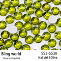 SS3-SS30 Olive Nail Art Rhinestones With Round Flatback For Nails Art Cell Phone And Wedding Decorations