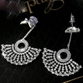 2016 New  Luxury Fan-shaped Full Micro Pave AAA Top CZ  Crystals Dangle Earrings APM MONACO Brand Jewelry for Women