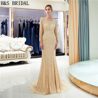 H&S BRIDAL Luxury Evening Dress long sleeves full beading woman formal evening dresses 2018 elegant gowns vestido de festa