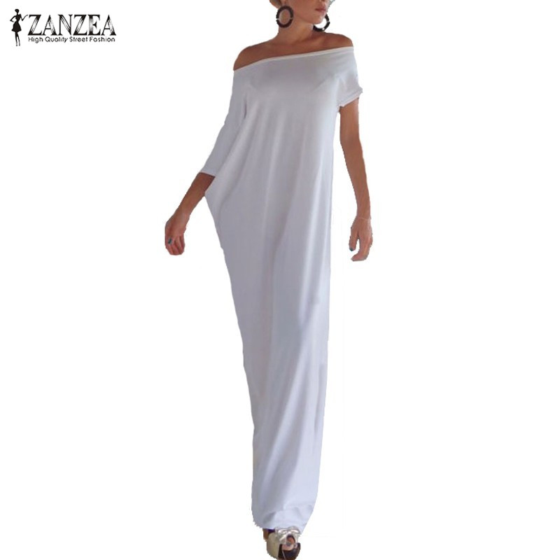 Zanzea Fashion Women Summer Dress 2018 Boho Casual Uregelmæssig Lang Maxi Party Kjoler Sexy Solid Vestidos Plus Størrelse S-5XL