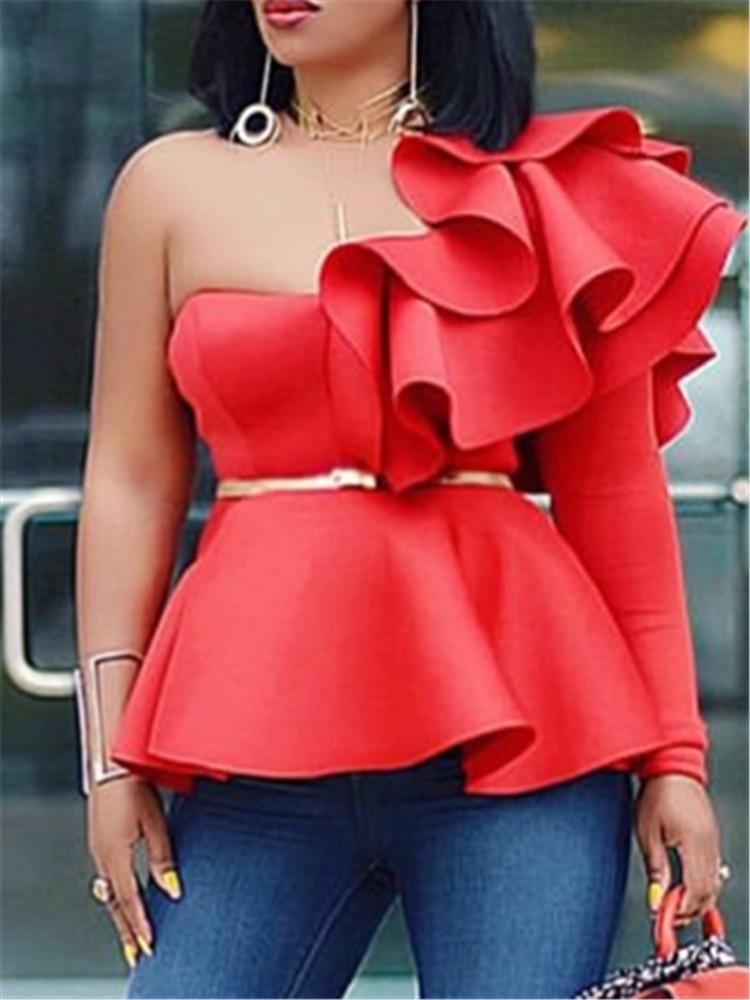 Women Blouse Tops Shirts One Shoulder Sexy Peplum Ruffles Slim Party Wear 2020 Summer New Fashion Elegant Ladies White Red Bluas