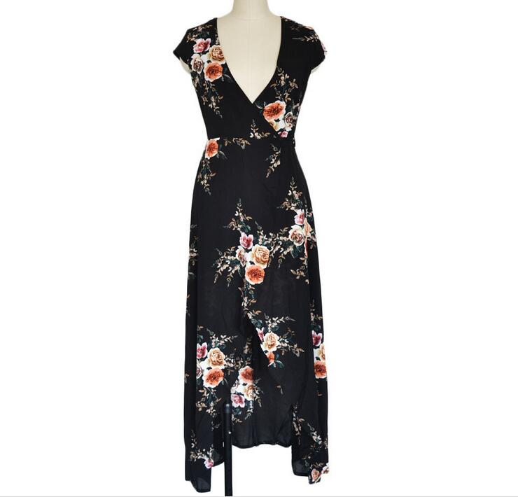 Vintage Beach Dress Print Short Sleeve Women Sexy Club Party MaXi Dress Vestidos Summer Dress 2018 Casual Dress Women Clothing