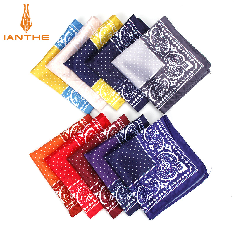Men's Handkerchief Vintage Paisley Dot Pocket Square Soft Silk Hankies Wedding Party Business Hanky Chest Towel Gift 24*24CM