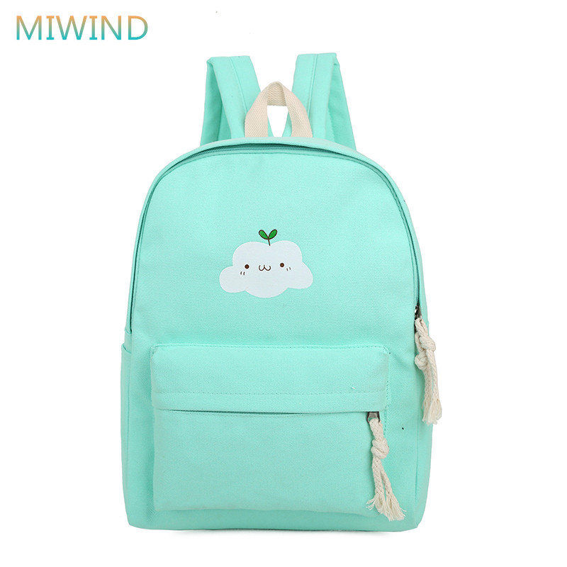 MIWIND Fashion 2016 Women Backpack Female Canvas Cloud Printing Backpacks Preppy School Shoulder Bags For Girls Mochila CB205 women fashion canvas backpack travel backpacks teenagers larger capacity girls school bags shoulder bag female mochila bolsa