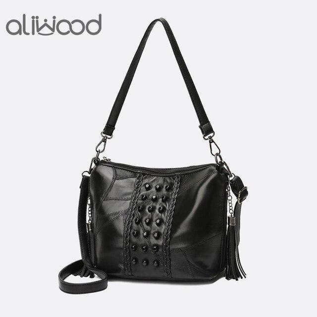 2946683ca Aliwood Diamond Rivet Ladies' Genuine Leather Handbag Tassel Women  Messenger Bags Designer Mini Crossbody Ladies' Shoulder Bag