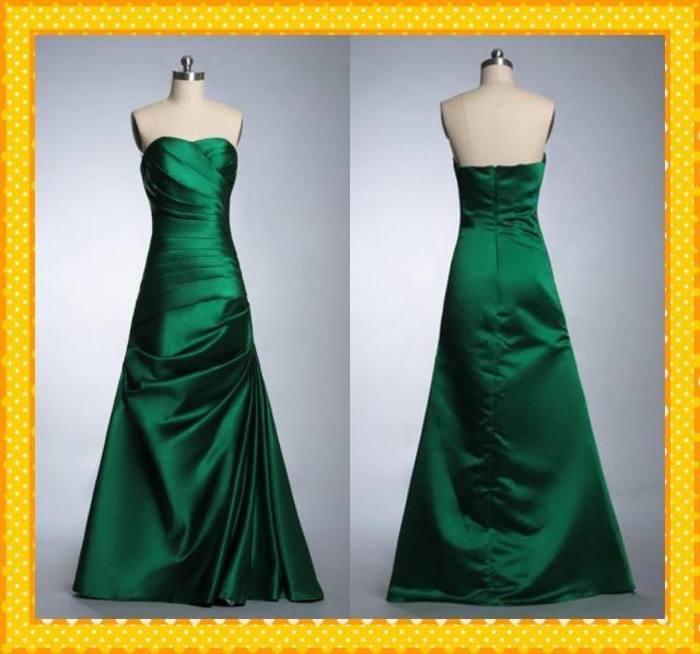 Elegant Royal Green Color Real Image New 2016 Y Backless Strapless A Line Satin Floor Length Pleats Prom Evening Dress Gown