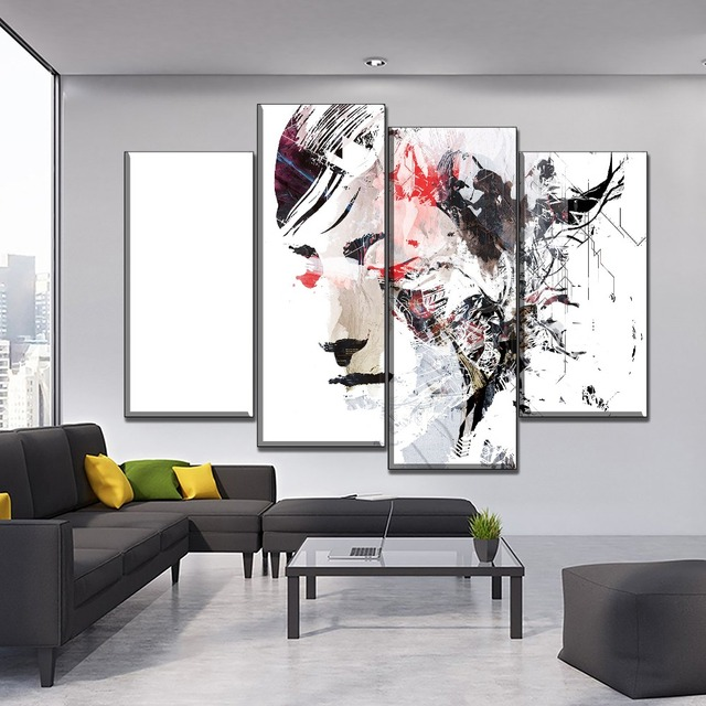 Artistic People Woman Face Abstract Oil Painting On Canvas Print Type One Set 4 Piece Modular Combinatorial Poster Home Decor
