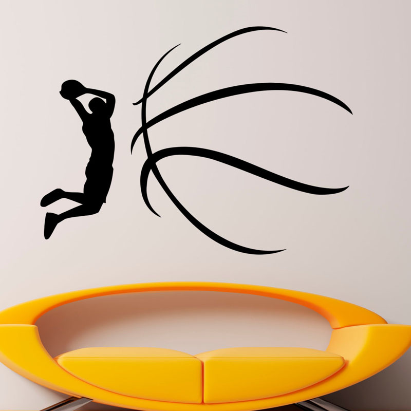 1pc Basketball Dunk Sports Vinyl Decal Art Wall Sticker Wall Stickers For Boys Rooms Home Decor Living Room Wandaufkleber July31 Consumer Electronics