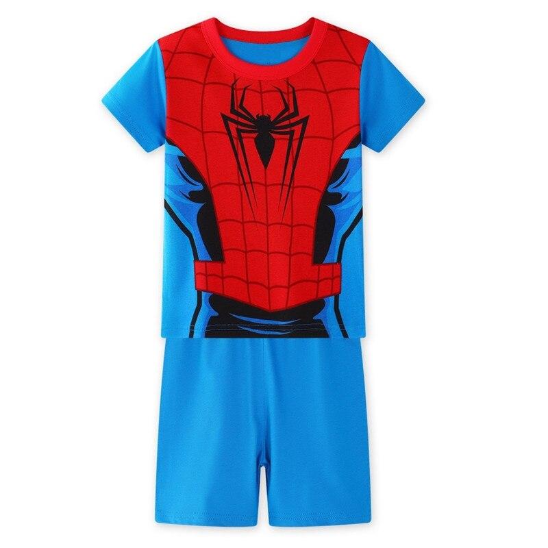 17 Kids Boys Girls Pajamas Cartoon Spider-Man Set Baby Sleepwear Cotton Superhero Costumes Shorts + Short Sleeve Tees Baby Clothing