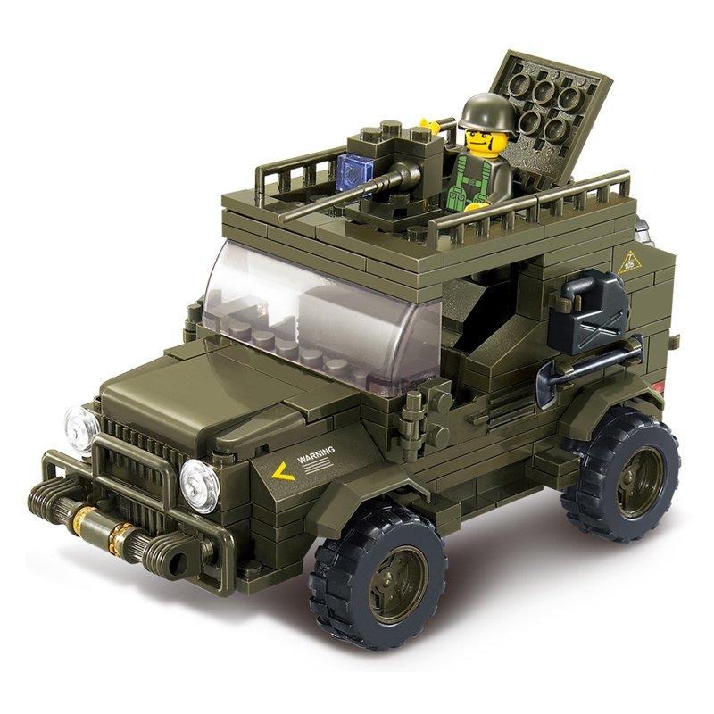 Sluban Military Army Jeep Model building kits compatible with lego city blocks Educational model building toys hobbies children