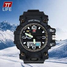 TTLIFE Men Brand Casual Sport Digital Watch Shockproof Luxury Analog LED Wristwatch Large Dial Display Quartz Watch TS14
