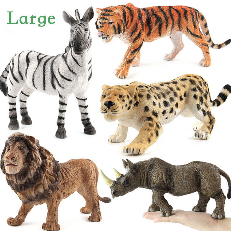 Kids Toys Action-Figures-Set Rhinos Wild Animals Elephant Simulation Wildlife-Toys Children
