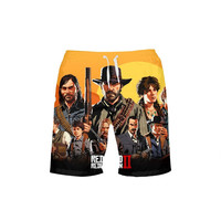 New Red Dead Print Men Surf Beach Shorts Swimming Pants Running Sports Quick Dry Male GYM Short Swim Summer Swimsuit Boxer Brie