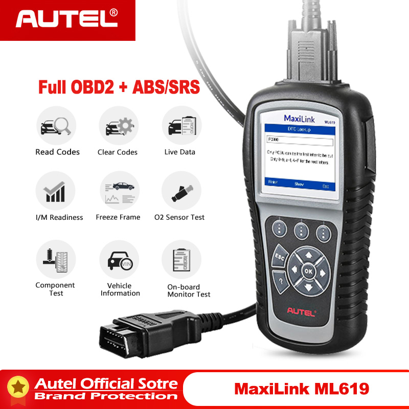 Autel MaxiLink ML619 ABS/SRS +CAN OBDII Diagnostic Tool Clears codes and resets monitors