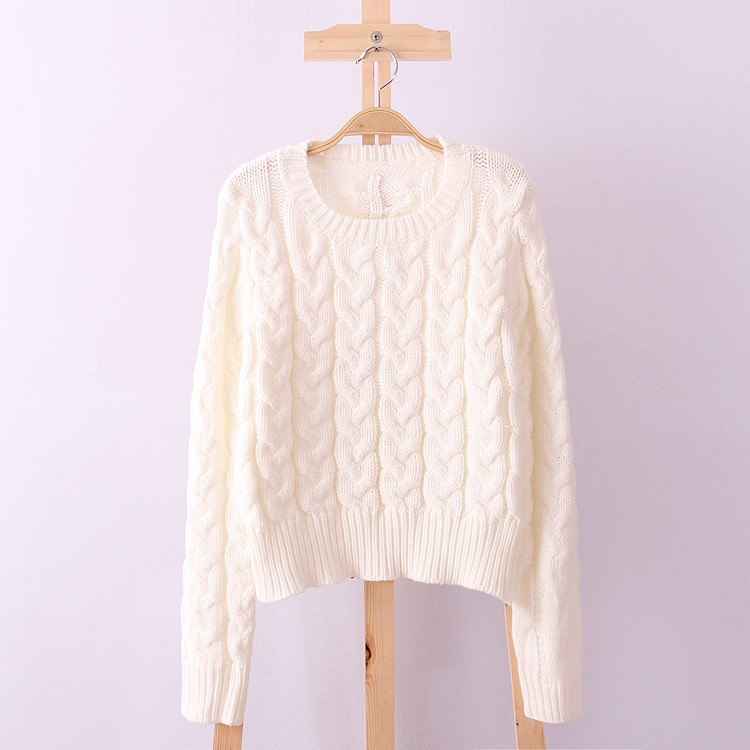 Retro Style Thick Line O-Neck Pullover Short Sweater Women Girl Spring 2016 (19)