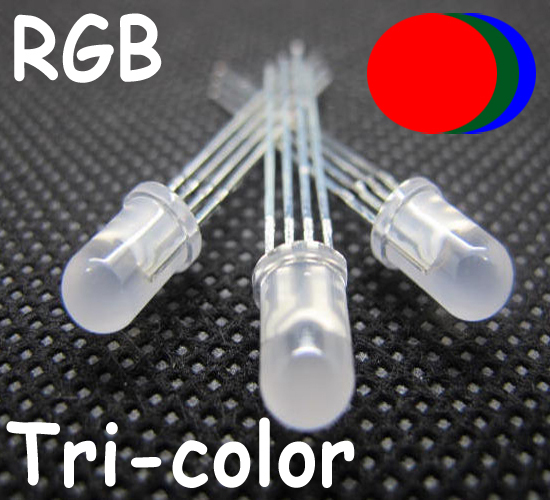 50 x Red//Blue 5mm Tri-Colour LED