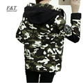 Autumn Women Jackets Skulll Print Camouflage Military Jacket Short Design Casual Hooded Parkas Slim Windbreaker Basic Coat