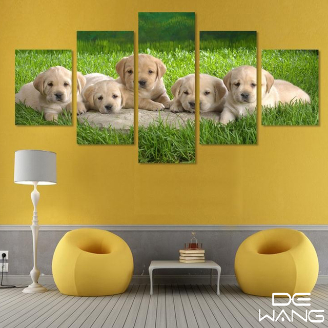 5 Piece Puppy HD Oil Painting On Canvas Wall Art Picture Home ...