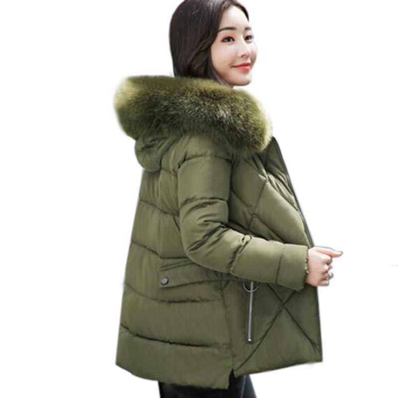 Women winter coat short down cotton padded jacket large fur collar thickening winter wadded jacket outerwear women parka QH0414
