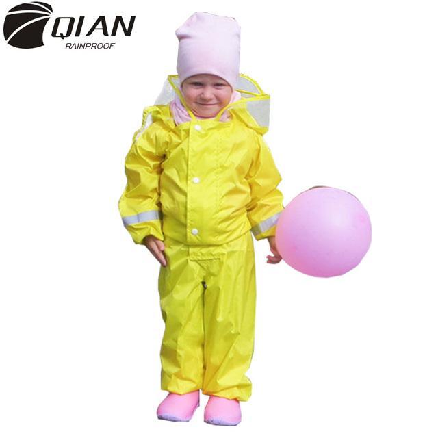 QIAN 2-9 Years Old Fashionable Waterproof Jumpsuit Raincoat Hooded Cartoon Kids One-Piece Rain Coat Tour Children Rain Gear Suit