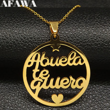 2019 Fashion Letter Grandmother Stainless Steel Necklace for Women Gold Color Necklaces Jewelry acero inoxidable joyeria N18579