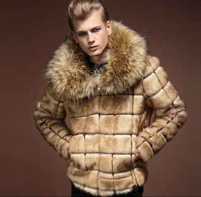 Mens 2019 Collar Fur Coat Personality Artificial Leather Grass Rabbit Fur Jacket Large Size Turn Down Collar Outwear