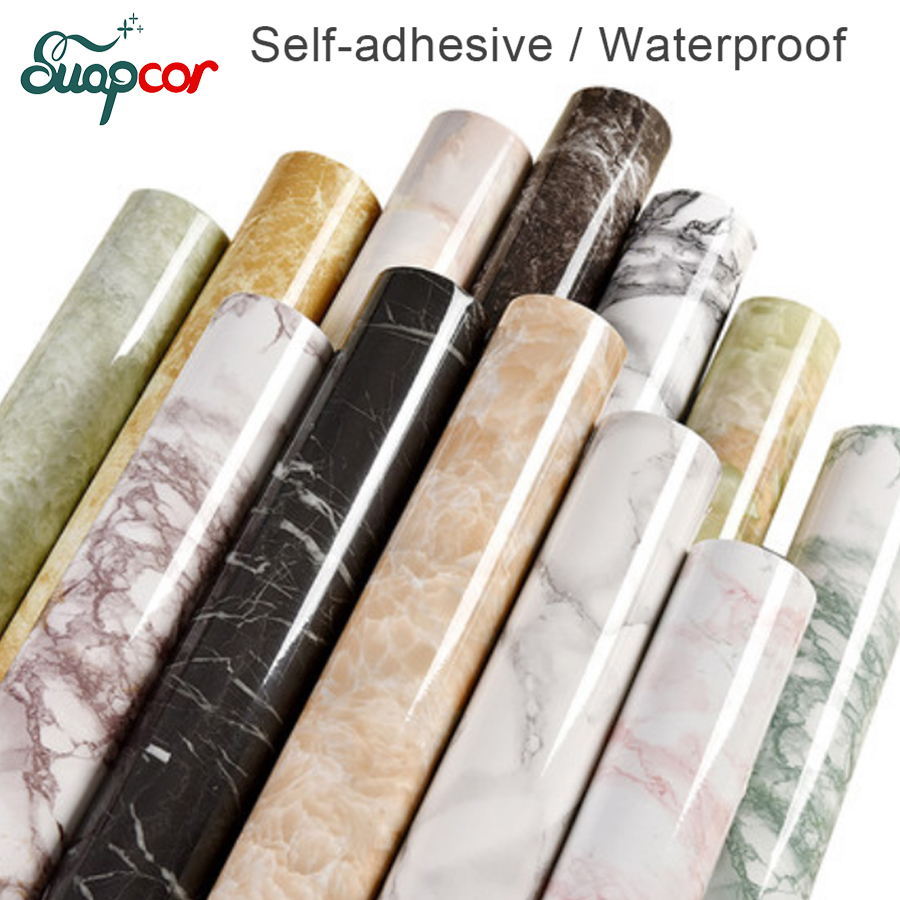 3m Pvc Waterproof Home Decor Wall Stickers Vertical: 3M /5M Marble Decorative Film Self Adhesive PVC Wallpaper