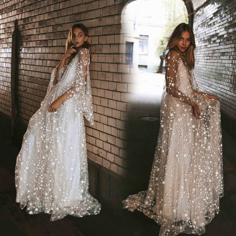 Women Clothes New Arrival 2019 Summer Beach Dress Elegant White Polka Dot Sequin Mesh Long Dress See Through Boho Maxi Dresses