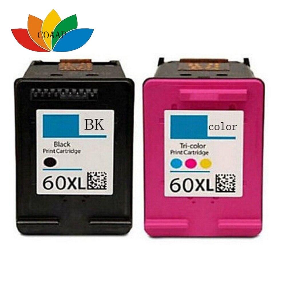 2 CC641WN Black /& Color Ink Cartridge for HP 60XL 60 Deskjet F4280 D1660 F4480