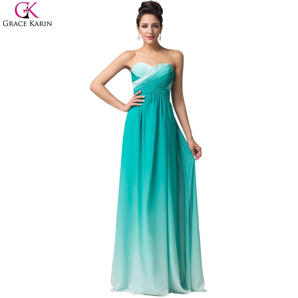 Grace Karin Dresses Ombre Evening Dresses A Line Long Blue Rose Cheap Prom Dress 2017 Party Dinner Formal Dresses Abendkleider