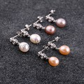 Freshwater Pearl Earrings Designs with Sterling Silver cubic zirconia mixed colors 8-9mm