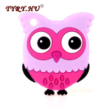 TYRY.HU BPA Free 1Pcs Owl Silicone Teether Food Grade Silicone Beads Baby Teething Toys Infant Nursing Necklace Charms Pendant