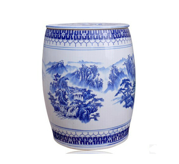 Novel Chinese Blue And White Ceramic Porcelain Garden Stool With Storage  Jar Function
