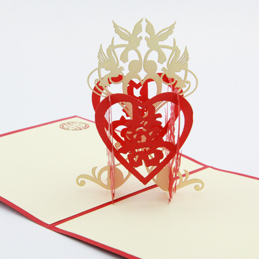 Chinese wedding invitations card 3d kirigami card for Kirigami christmas card