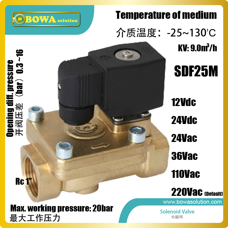 Brass water Solenoid Valves with Rc1  female taper threads are used in  pneumatic hydraulic and food machine application