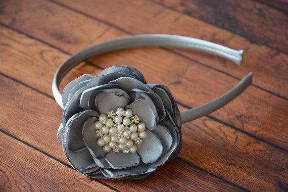 Satin Flower Matching Plastic Headband Layered Flower Plastic Headband girl hairbands