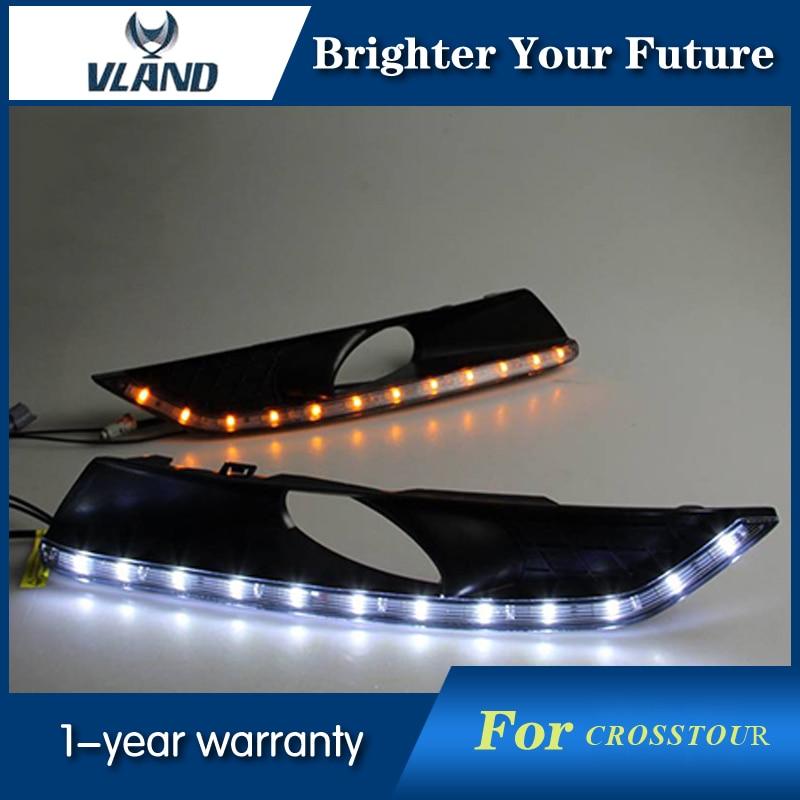 Car Styling For HONDA Crosstour 2011-2012 White+Yellow LED Light Daytime Running Light DRL