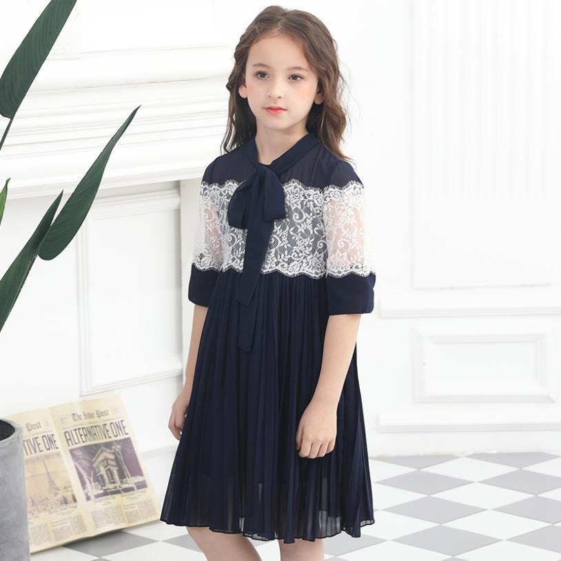 2019 summer new fashion brand mesh loose dress baby girls lace patchwork sweet dress kida princess dress teenage clothes ws602