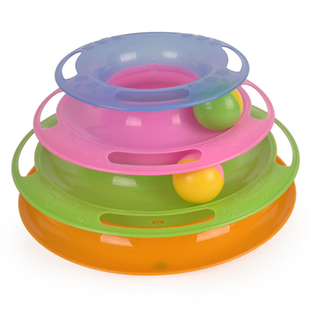 Cat Toy Ball Bell And Chase Toy For Cats Amusement Plate Rotating ...