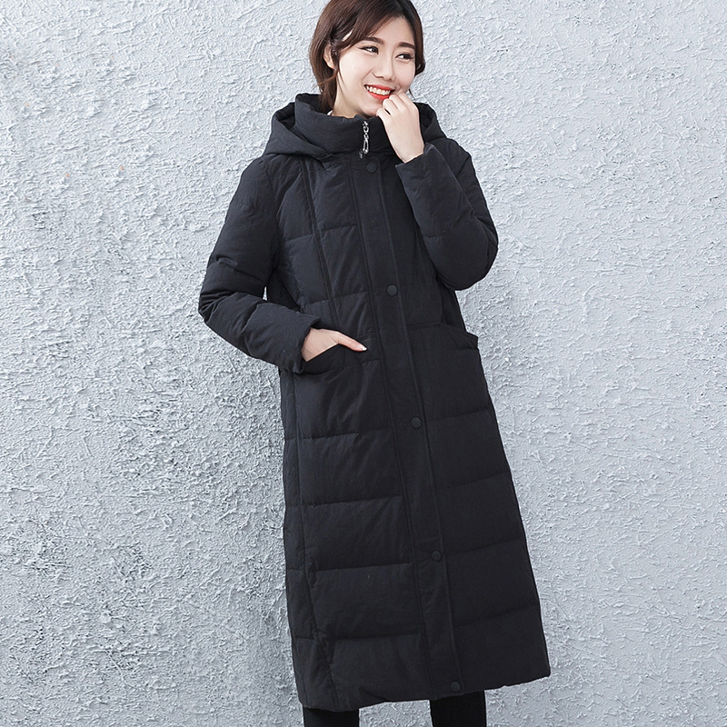Women Casaul   Down     Coat   Hat Detachable Hooded   Down   Jacket Overcoat Winter Thick Long White Duck   Down   Jacket M/L/XL