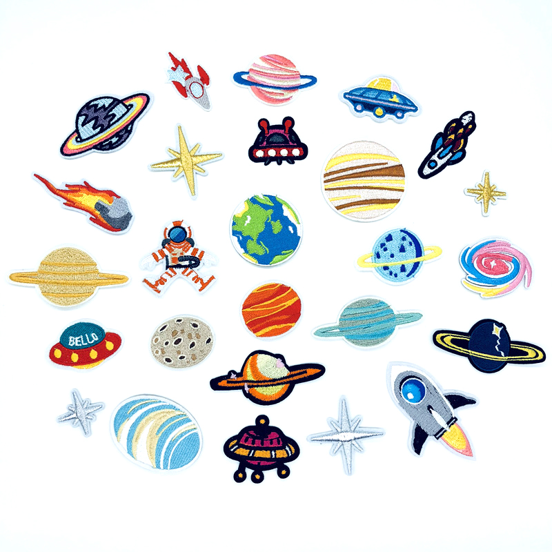 Explosion models Cosmic Planet Portfolio Embroidery Cloth Spaceman UFO D-009