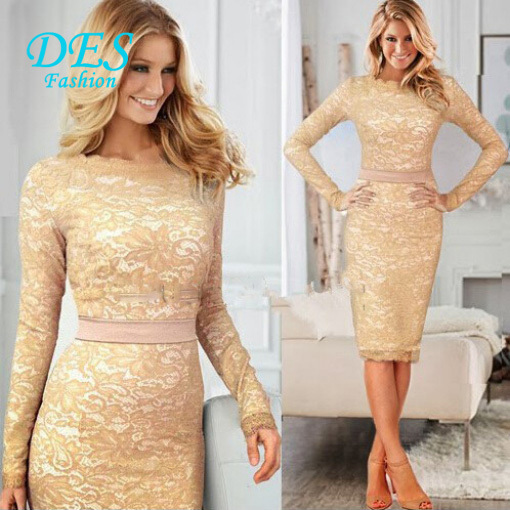 Aliexpress.com : Buy Lace Elegant Long Sleeve Knee Length Beige ...