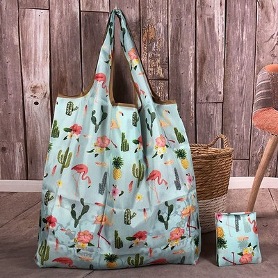 Women Foldable Eco Shopping Bag Tote Reusable Shopping Tote Bag Floral Fruit Bunny Vegetable Grocery Cartoon