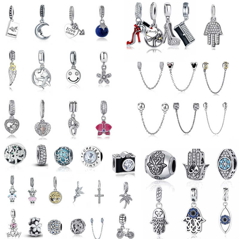 2c41c0adc fit Pandora Bracelet 925 Sterling Silver Vintage Camera Blue CZ Devil Eye  Angel Wing Beads Family