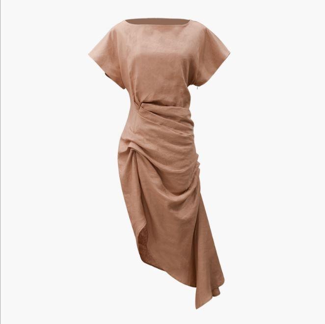 Haute Conception Plissée Cravate Torsion Noeud Avant split Designer Asymétrique Drapé Robe Coton Lin Haute De bas Ourlet Femmes Mélange Mince TEqwFzO
