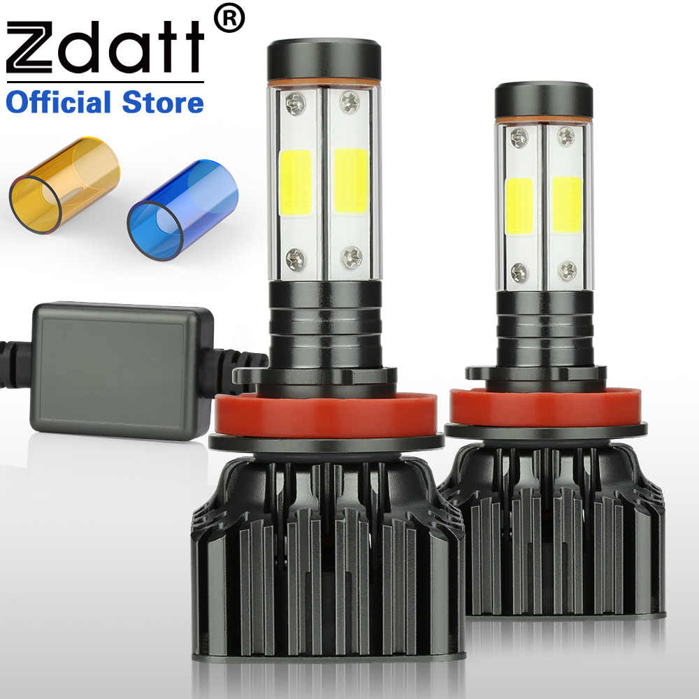 Zdatt H7 Led Headlights 4 Sides Canbus H4 H11 9005 HB3 9006 HB4 100W 12000LM Running Light Bulbs for Cars 12-24V Automobiles