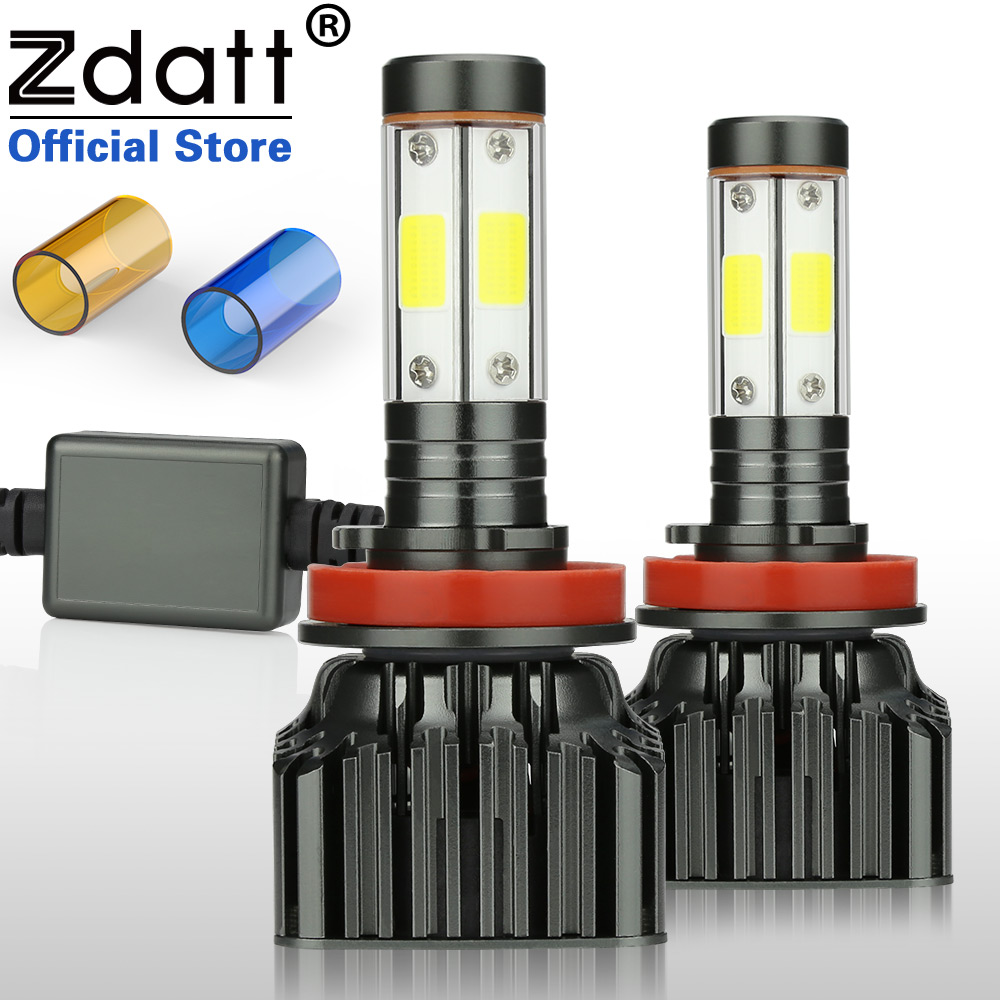 Zdatt H7 Led Headlights 4 Sides Canbus H4 H11 9005 HB3 9006 HB4 100W 12000LM Running Light Bulbs for Cars 12 24V Automobiles in Car Headlight Bulbs LED from Automobiles Motorcycles