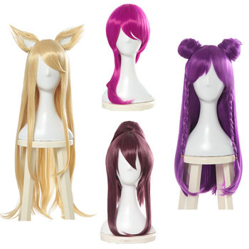 Game LOL Character KDA Ahri Akali Evelynn Kaisa Cosplay Hair Wig Heat Resistant Synthetic Cosplay Wig+Wig Cap Cosplay Party image