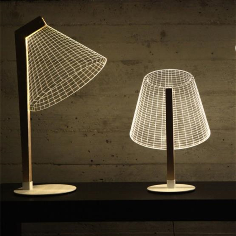 Nordic Simple 3D Effect LED Desk Lamp Wood Support Acrylic Lampshade Light Living Room Bedroom Deco Table Lamp Reading Lighting in Desk Lamps from Lights Lighting