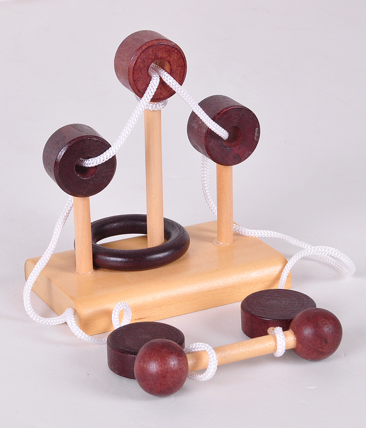 Danniqite Wooden 3D puzzle toy Topology Toy intelligent Loop Puzzle Kong Ming lock Stringing unlock Untie the rope Gifts